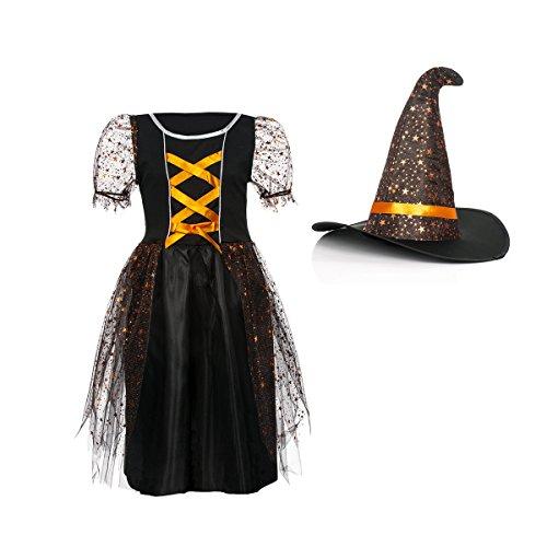 nkostüm Kinder mit Hut Mädchen Hexen Kostüm Halloween Hexe schwarz-orange 128 (Hexe Kostüm Hut)