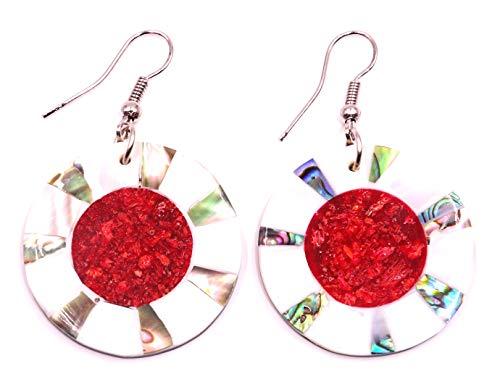 8 - Pendientes de nácar con concha artesanal, étnico, diseño étnico, color coral rojo