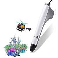 RIGHTWELL Penna 3D, Penna Stampa 3D - Compatibile con ABS/PLA e PCL - con 2 pezzi Filamento PLA per Crafting, Art & Model DIY, Grandi Regali per I Bambini (Bianco)