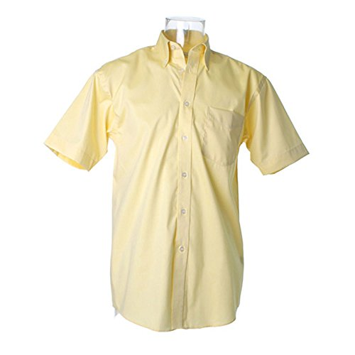 Kustom Kit Oxford Pinpoint Short Sleeve Shirt Lemon