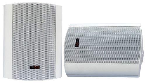 """E-Lektron EWL5P Stereo passiv Lautsprecher Paar inkl. Wandhalter für innen und außen - 5"""" 125W - Weiß"""