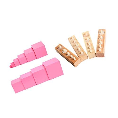 SM SunniMix 2 in 1 Montessori - Rosa Turm und Zylinder Blöcke Set