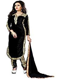 Aryan FAshion Black Velvet Embroidred Salwar Suit For Women & Girls Party Wear Stitched For Girls For Specail...