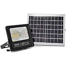 Luz Solar LED Exterior Con Mando a Distancia 40W, Foco Solar con Luz Cálida 2700K