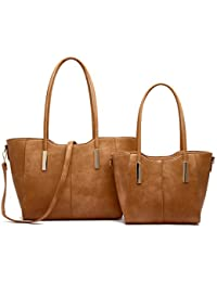 Hna Solid Top Handle Tote Bag Set With Smaller Tote 2 Piece Set By Hue & Ash