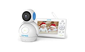 "HOMIEE 720P Wireless Video Baby Monitor with 5"" HD LCD Digital Screen & Robot Appearance Camera, Two Way Audio, Sound & Temperature Alert, Low Battery Alarm, Night Vision with 1000ft Range (Blue)"