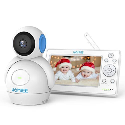 """HOMIEE Baby Monitor Video da 5\"""" HD Schermo a Colori,Supporta Fino a 4 Telecamere, 360 Visione, Connessione a 300m, Audio Bidirezionale, Visione Notturna ecc"""