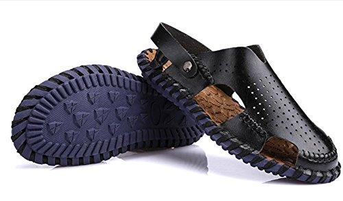 scarpe da spiaggia in pelle da uomo ciabatte mano-balneari di tendenza casuale, Retro Classics cucito Pantofole per gli uomini Black