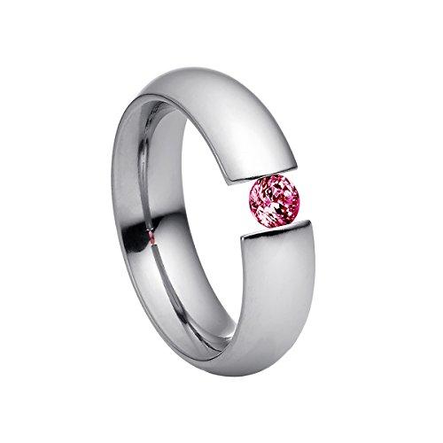 Heideman Damen-Ring intensio poliert Gr.57 Swarovski zirconia rubin 4 mm Ringe mit Stein Zirkonia Diamant Edelstahl Größe 57 (18.1) hr2002-3-6-57