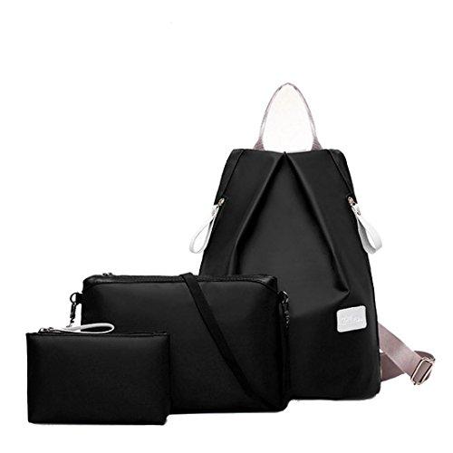 Mochila, Manadlian Moda Bolso de mujer Bolsa de hombro Monedero de mujer (27cm*17cm*32cm, Negro)