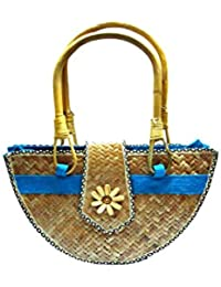Innovative Handcrafts Women's Handmade Cane- Jute Bag (Multi-Colour)