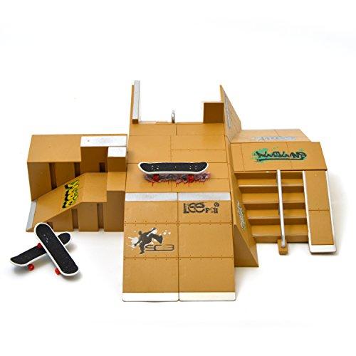 Apollo Fingerboard Rampen Set Miami inkl. 4 Komplett-Boards und Mini-Rampe für Skate-Tricks (Rampe Mini)