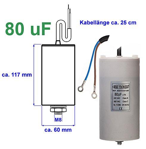 Preisvergleich Produktbild Kondensator Anlaufkondensator Motorkondensator Arbeitskondensator Kabel 80µF 450V