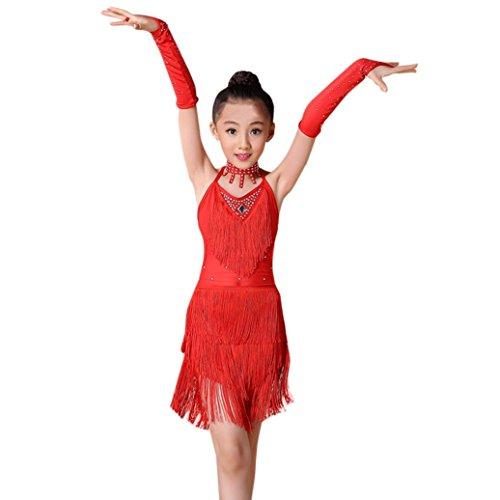 in Kleid Kinder Tanzkleid Quaste Kleider Salsa Dancewear Kleidung (Höhe 100 cm, Rot) (Halloween-kostüme Dancewear)
