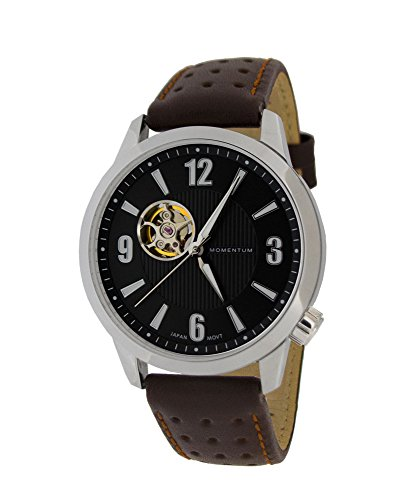 Momentum Men's ' Automatic Stainless Steel and Leather Casual Watch, Color:Brown (Model: 1M-SN90BS2C)
