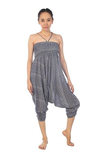 Lofbaz Damen Haremshose Jumpsuit mit Kordelzug Schöne gedruckt Waterdrops Dunkelblau