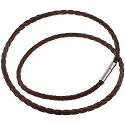Cordón collar, cuero de vaca, trenzado, color cáfe oscuro, 4mm