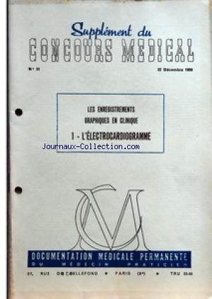 SUPPLEMENT DU CONCOURS MEDICAL [No 51] du 22/12/1956 - LES ENREGISTREMENTS GRAPHIQUES EN CLINIQUE - SOMMAIRE - LES ELECTROCARDIOGRAPHES - L'ENREGISTREMENT - I L'ELECTROCARDIOGRAMME NORMAL - A ETUDE ANALYTIQUE