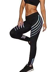 Damen Yoga Streifen Leggings Hose , Yogogo Hohe Taille Pants | Trainingshose Hosen | Reflektierend Leggings | Sport Fitness Workout Leggins | Elastische Dünne Hosen | Sporthose