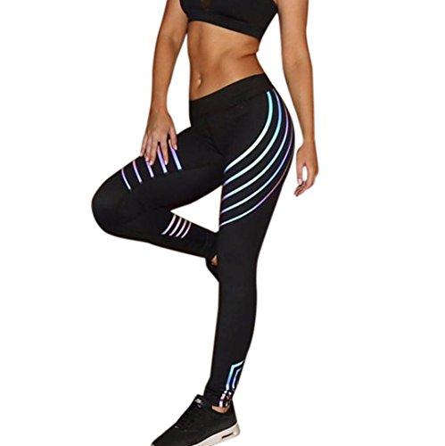 Damen Yoga Streifen Leggings Hose , Yogogo Hohe Taille Pants | Trainingshose Hosen | Reflektierend Leggings | Sport Fitness Workout Leggins | Elastische Dünne Hosen | Sporthose (M, Schwarz)