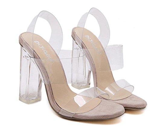 YCMDM Femmes Sandales Mode Crystal Princess Transparent Film Crystal Open Toe Talons hauts apricot