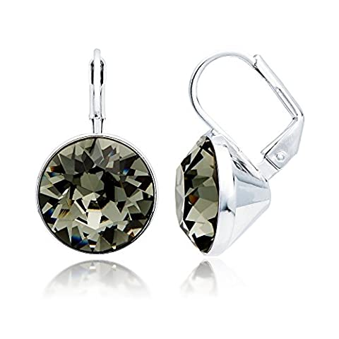 MYJS Bella Drop Earrings Rhodium Plated with Black Diamond Swarovski Crystals Exclusive Limited Edition