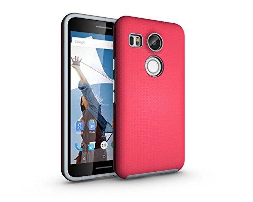 XACQuanyao Für LG Google Nexus 5X (2015) Ball Textur Ultra Slim 2 in 1 TPU und PC Kratzfest Anti-Rutsch-Anti-Schock-Rüstung Schutzhülle zurück Fall (Farbe : Rose)