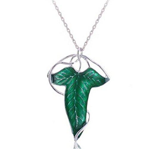 Herr der Ringe ARAGORN Elfen grün Leaf Brosche Pin Anhänger mit Kette Halskette (Der Herr Der Ringe Elfe)