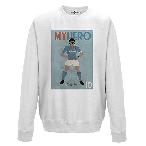 Felpa Girocollo Zerostile My Hero Calciatore Leggenda Calcio Maradona Napoli 2 Arctic White