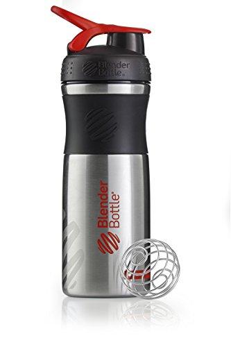 BlenderBottle Sportmixer Edelstahl Shaker,  Protein Shaker, Eiweiss Shaker, Diät Shaker, Fitness Shaker, BPA frei,  mit BlenderBall,  820ml - Schwarz/Rot