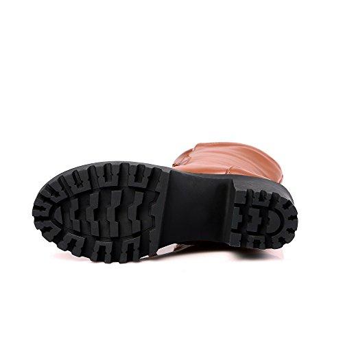 AgooLar Damen Rund Zehe Hoher Absatz Weiches Material Eingelegt Stiefel Braun