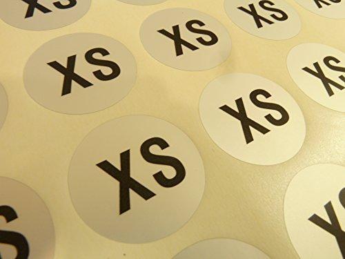 Herren Kleidung Kleidung Kleidungsstück Größe Aufkleber, Klebeetiketten XXS bis XXXL, schwarz auf Silber, Etiketten für Aufhänger, Box Verpackung - XS (Kleidungsstück Boxen)