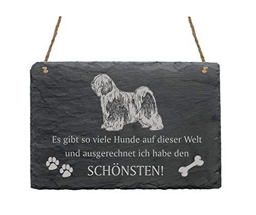 Schiefertafel « TIBET-TERRIER - schönster Hund der Welt » Spruch + Hunde Motiv - Schild Türschild Dekoschild Dekoration - Hunderasse Tibetan Terrier Tsang Apso -