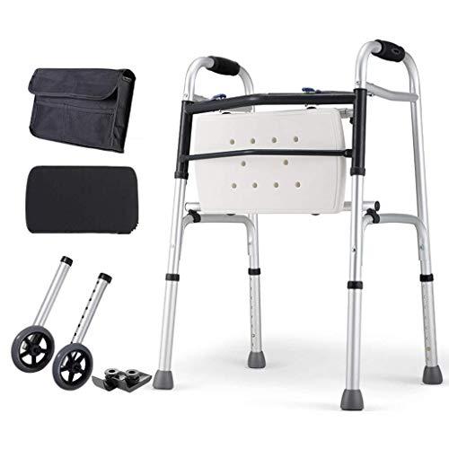 Lxddjzxq walker, walker - bastone da passeggio per anziani, multifunzionale, 1,2 m, in lega di alluminio, pieghevole, per passeggiate anziane assistite d