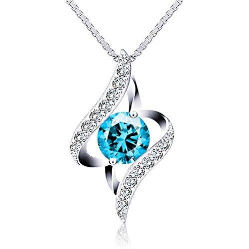J.Rosée Collana donna, Collana con pendente scintillante, con Ciondolo Azzurro, Catena in argento sterling 45cm, Gemma Azzurra di zirconi a forma di diamante