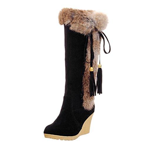Yiiquan Damen Warme Stiefel Mittlere Höhe mit Dicken Gefüttert Keilabsatz Kunstpelz Schneeschuhe (Schwarz, 41 EU)