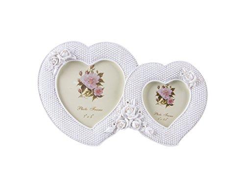 Alicemall Cadre Photo Cœur Double Amour Blanc Photo Frame Rose Beau Souvenir Décor