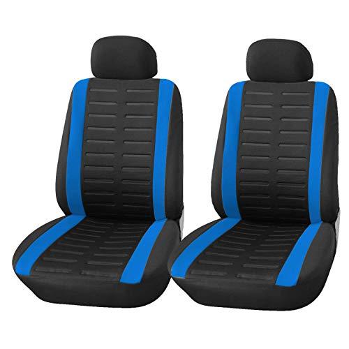 upgrade4cars Coprisedili Auto Anteriore Universali Nero Blu Set Copri-Sedile Universale per Guidatore e Passeggero con Airbag Laterali Accessori Auto Interno