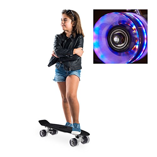 Relaxdays Skateboard LED für Kinder, 22 Zoll Mini Cruiser mit Leuchtrollen, ABEC 7 Alu-Trucks mit Gummi Wheels, schwarz