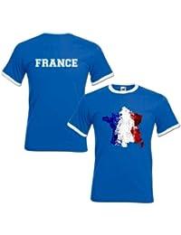 T-Shirt Homme Football Carte De France Drapeau