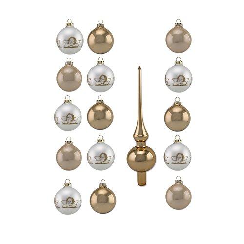 (Thüringer Glas Design A016-2356-2200 16 teilig Glas-Sortiment, 8 Kugeln 6 cm Uni, 7 Kugeln 6 cm deko, 1 Spitze 23,5 cm, Dekor Engel Raphael, Diamonds, 4-farbig)