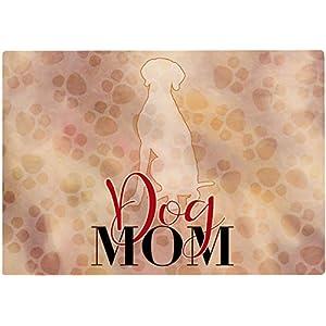 Cadouri Frühstücksbrettchen DOG MOM mit Weimaraner Glasschneidebrett Schneidebrettchen – 28,5 x 20 x 0,4 cm