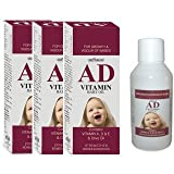 AD baby massage oil ( pack of 3 bottle , each 100 ml ) - with vitamin A,D,E, n OLIVE OIL