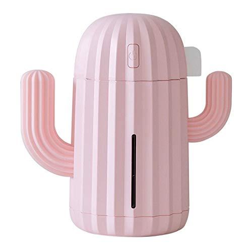 YINGJEE Humidificador Cactus Portátil con LED luz de Noche Difusor Ultrasónico silencioso de Aire 340 ml para Bebé,Yoga,Oficina,Dormitorio,Regalo,Decoración (Rosa)