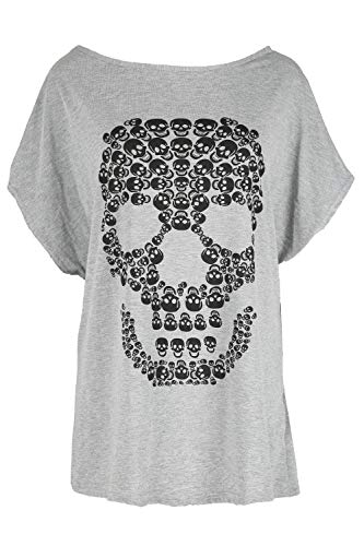 8ff889ceb5470 Be Jealous Womens Halloween Party Baggy Lagenlook Top Ladies Spooky Skull  Batwing Scary Loose Fit T