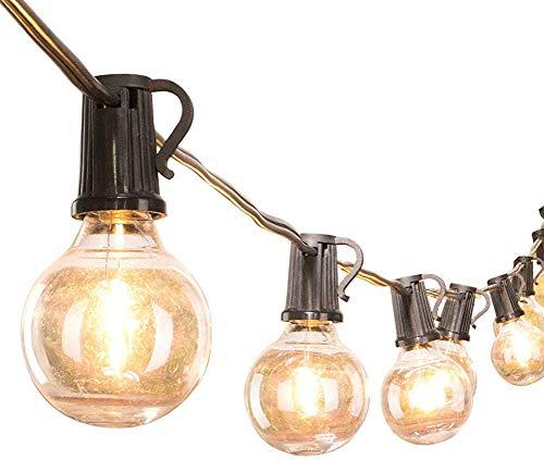 Frazazy LED G40 Außen Terrasse Lichterketten mit 25 Bruchsicher Klar Globe Glühbirnen, Warmes Weiß Ambiente Indoor & Outdoor Lichter für Garten Hinterhof Bistro Pergola Zelte Gartenlaube Dekor