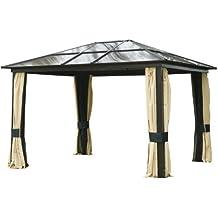 Outsunny Carpa 3x3.6m Cenador Estructura de Aluminio 4 Paravientos Laterales + mosquitera