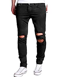 Homme Mode Militaire Pantalons Men's Casual Trousers Hole Solid Color Jeans Pants