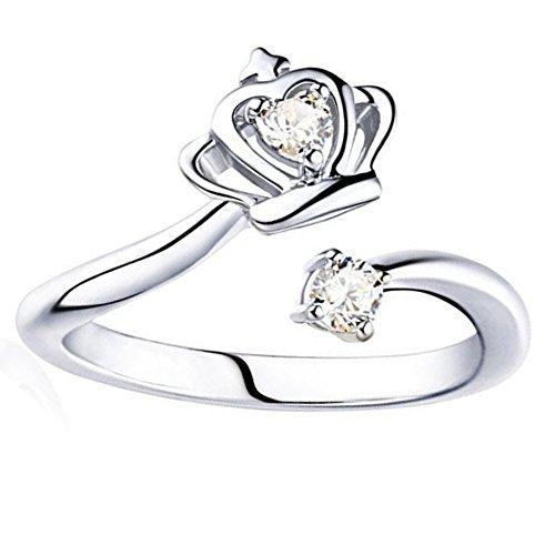 Hosaire Ringe Mode Frauen Diamant-Kronen Design Offener Rings Damen Schmuck Zubehör Ring Einstellbare Größe (Silber)