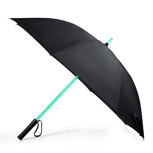 LED Paraguas Lightsaber Infantil Hombre Mujer, Luz para Arriba Paraguas de Golf con el Cambio de Color del Eje/Construido en la Antorcha en la Parte Inferior(Negro)